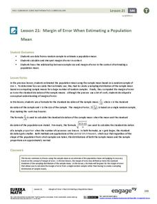 Margin of Error When Estimating a Population Mean (part 2) Lesson Plan
