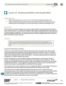 Sampling Variability in the Sample Mean (part 2) Lesson Plan
