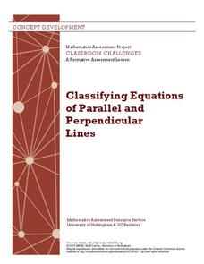 Classifying Equations of Parallel and Perpendicular Lines Lesson Plan