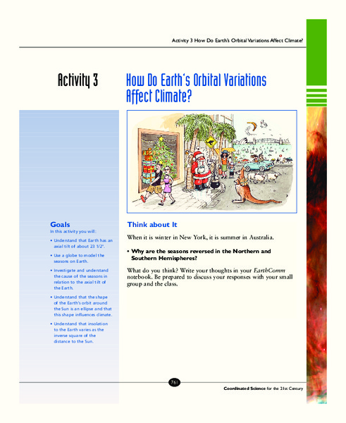 How Do Earth's Orbital Variations Affect Climate? Activities & Project