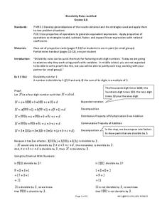 Divisibility Rules Justified Lesson Plan