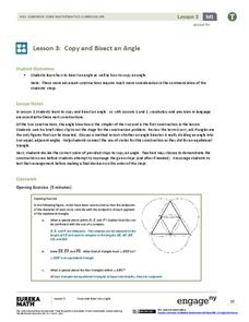 Copy and Bisect an Angle Lesson Plan