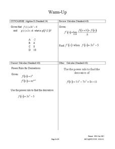 Derivative Theorems Handouts & Reference