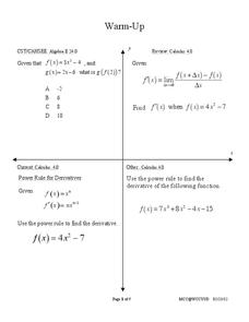 Using Derivatives to Graph Polynomials Handouts & Reference