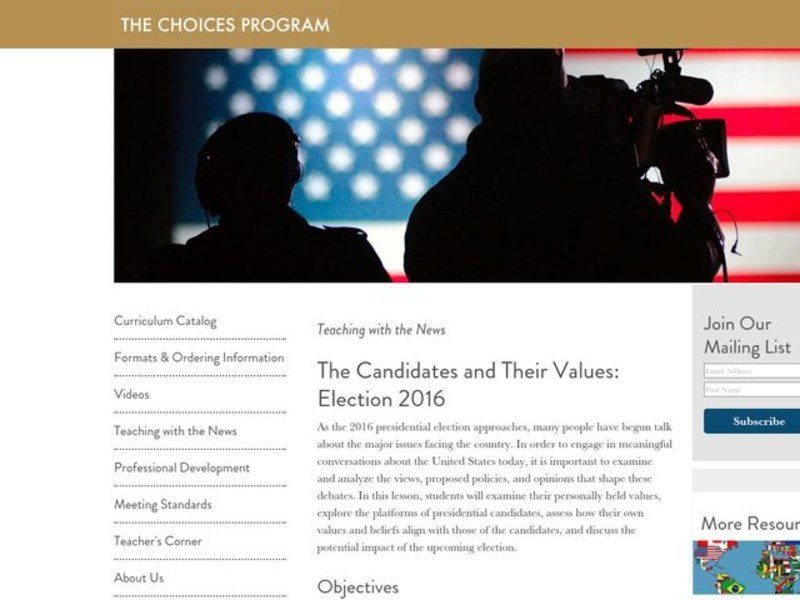 The Candidates and Their Values: Election 2016 Lesson Plan