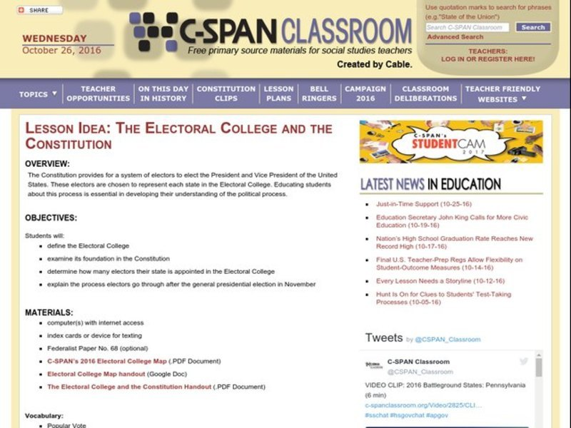 The Electoral College and the Constitution Lesson Plan