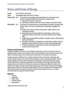 States and Forms of Energy Lesson Plan