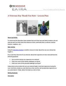 A Veterans Day Thank You Note Lesson Plan