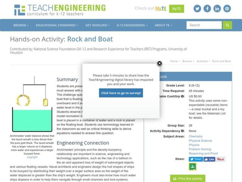 Rock and Boat Activities & Project