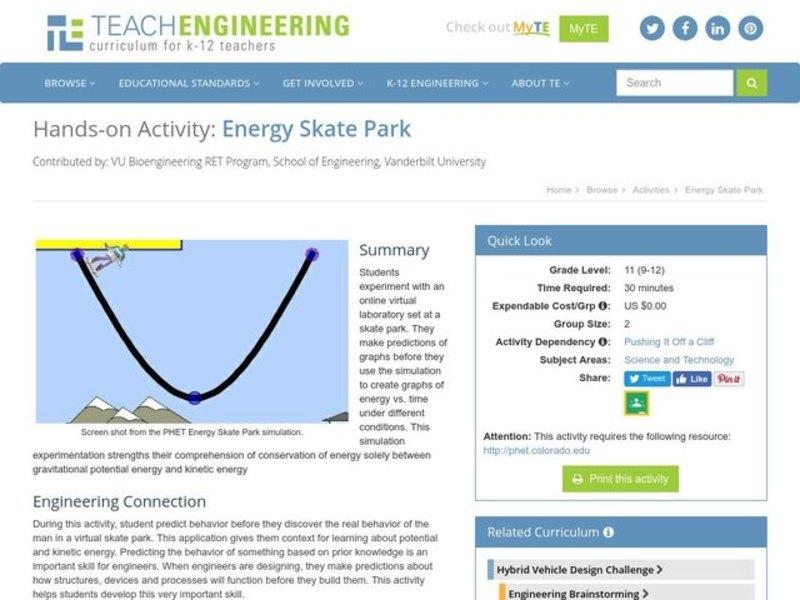 Energy Skate Park 9th 12th Grade Worksheet – Energy Skate Park Worksheet