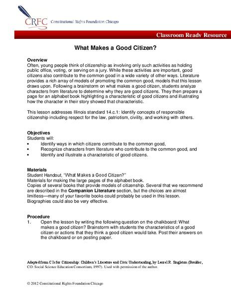 Character Trait Citizenship Lesson Plans Worksheets