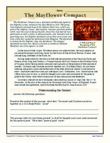 Understanding the Context: The Mayflower Compact Worksheet