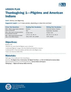 Thanksgiving 1—Pilgrims and American Indians Lesson Plan