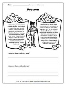 Worksheets Compare And Contrast Worksheets 4th Grade compare and contrast popcorn 2nd 4th grade worksheet lesson worksheet