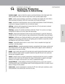 Analyzing Production Techniques in Advertising Handouts & Reference