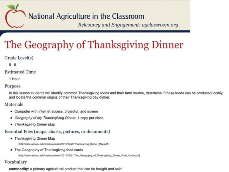 The Geography of Thanksgiving Dinner Lesson Plan