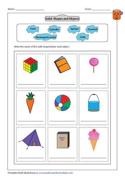 Solid Shapes and Objects Worksheet