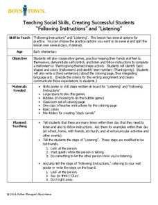 "Teaching Social Skills, Creating Successful Students ""Following Instructions"" and ""Listening"" Lesson Plan"