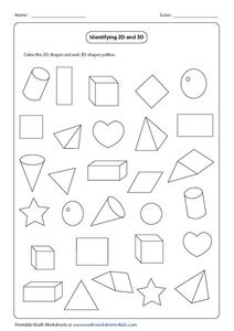 Identifying 2D and 3D Worksheet
