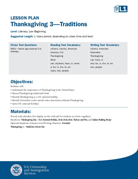 Thanksgiving 3—Traditions Lesson Plan
