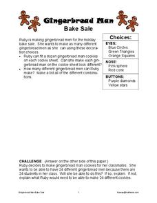 Gingerbread Man Bake Sale Worksheet