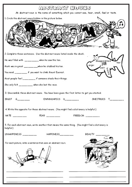 Abstract Nouns Worksheet For 2nd 4th Grade Lesson Planet