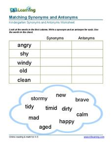Matching Synonyms and Antonyms Worksheet
