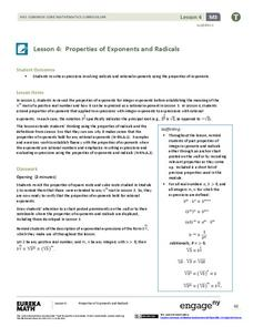 Properties of Exponents and Radicals Lesson Plan