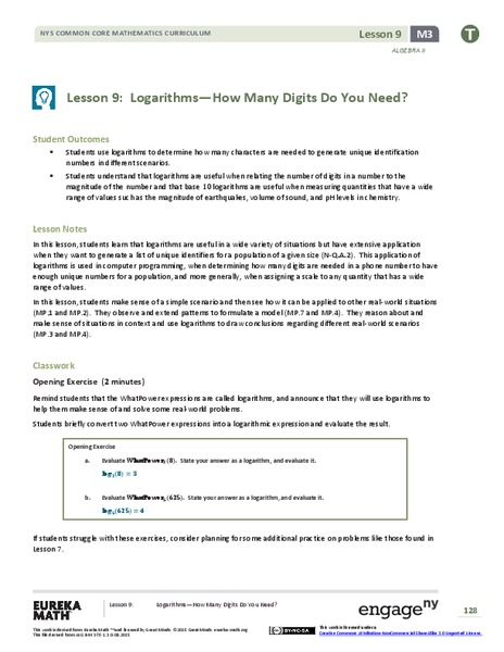 Logarithms—How Many Digits Do You Need? Lesson Plan
