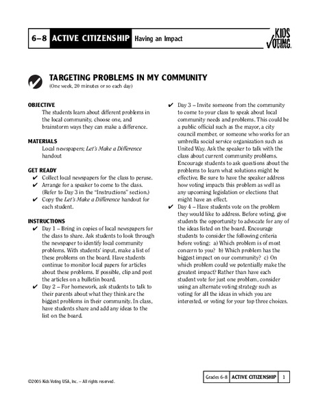 Targeting Problems in my Community Lesson Plan