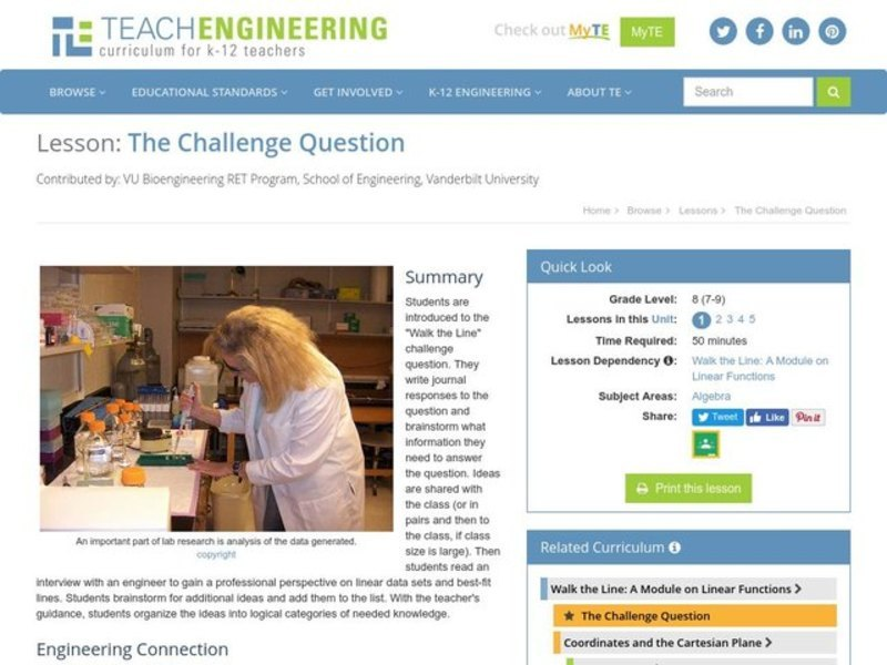 The Challenge Question Lesson Plan