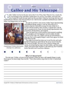 Galileo and His Telescope Worksheet