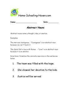 Abstract Nouns Worksheet