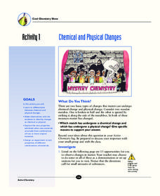 Chemistry and Physical Changes Activities & Project