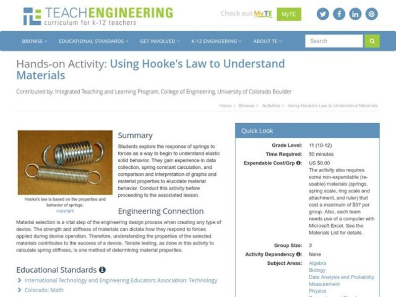 Using Hooke's Law to Understand Materials Activities & Project