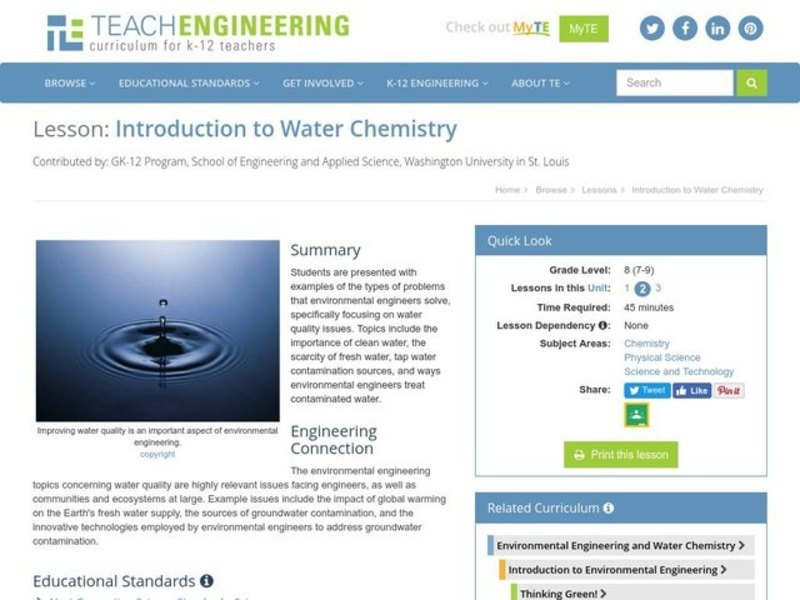 Introduction to Water Chemistry Lesson Plan
