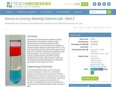 Density Column Lab - Part 2 Worksheet
