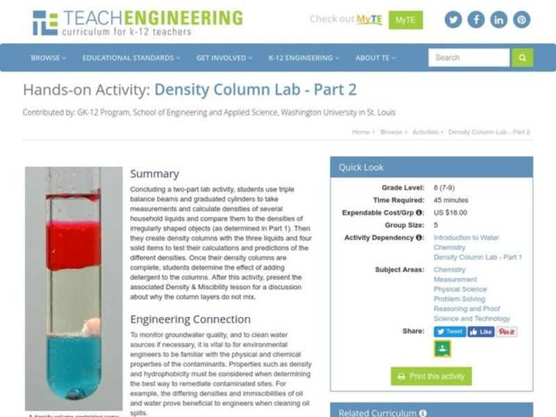 Density Column Lab Part 2 Activities Project For 7th 9th Grade