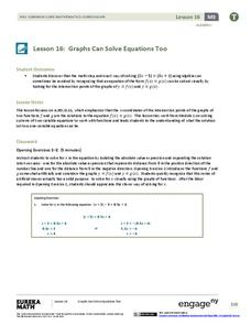 Graphs Can Solve Equations Too Lesson Plan
