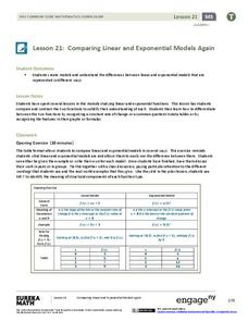 Comparing Linear and Exponential Models Again Lesson Plan
