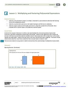 EngageNY Algebra I Module 4: Polynomial and Quadratic Expressions, Equations, and Functions