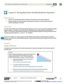 Solving Basic One-Variable Quadratic Equations Lesson Plan