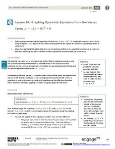 Graphing Quadratic Equations from the Vertex Form Lesson Plan