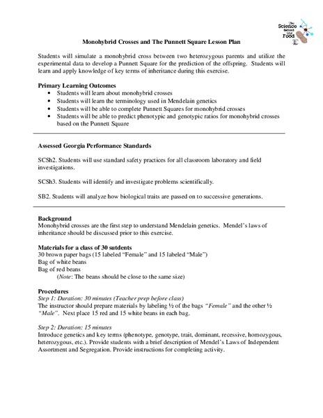 Monohybrid Crosses and The Punnett Square Lesson Plan ...
