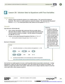 Solution Sets to Equations with Two Variables Lesson Plan
