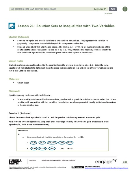 Solution Sets to Inequalities with Two Variables Lesson Plan