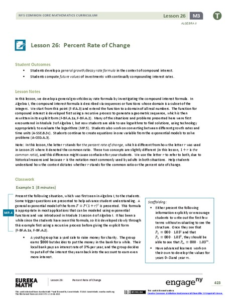 Percent Rate of Change Lesson Plan
