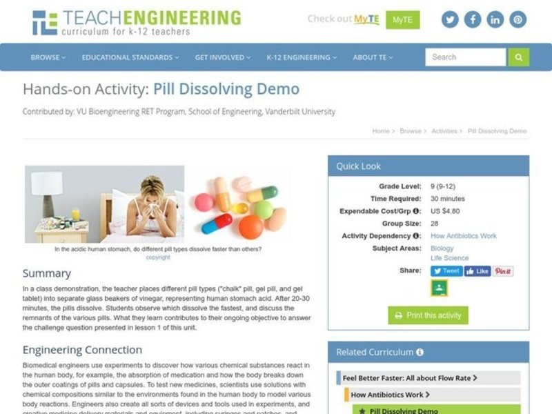 Pill Dissolving Demo Activities & Project