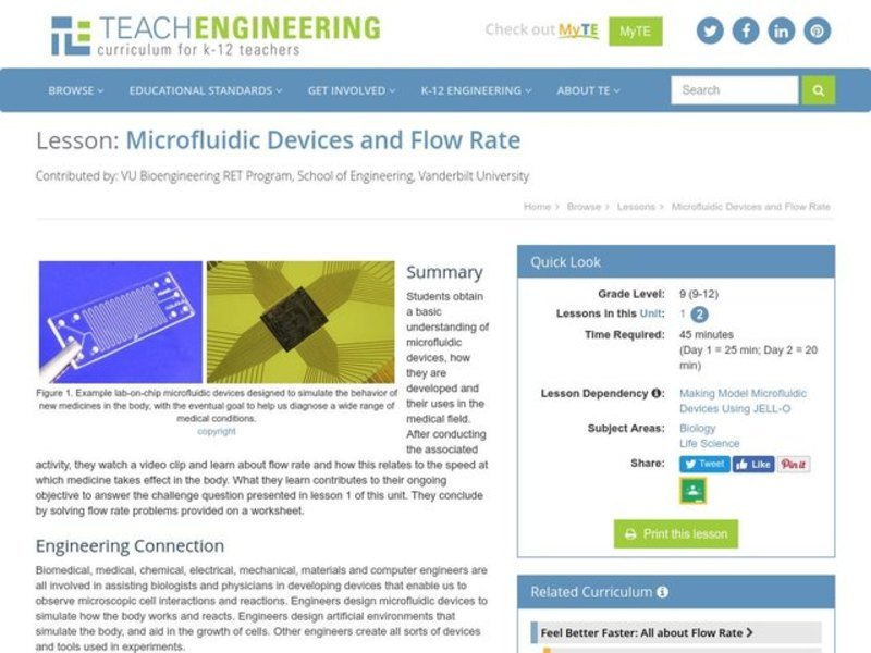 Microfluidic Devices and Flow Rate Lesson Plan