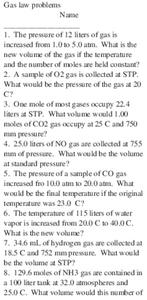 Gas Law Problems Worksheet